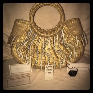 Metallic Gold Crocodile satchel NWT. Summer bag!